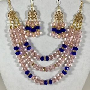Jewelry - Handmade 3strand necklace with earrings